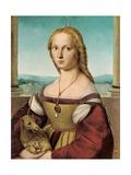 Portrait of a Young Lady with a Unicorn, 1505-1506 Reproduction procédé giclée par  Raphael
