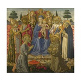 The Virgin and Child Enthroned Among Angels and Saints, 1460S Giclée-tryk af Benozzo Gozzoli