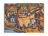 Building the Ships. Study, 1903 Giclée-Druck von Nicholas Roerich