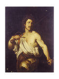 David with the Head of Goliath, C. 1635 Lámina giclée por Bernardo Strozzi