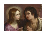 Christ Embracing Saint John the Baptist, C. 1640 Giclee-trykk av Guido Reni