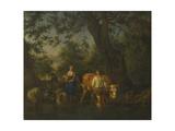 Peasants with Cattle Fording a Stream, Ca 1662 Giclée-Druck von Adriaen van de Velde