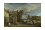 Peasants Playing Bowls Outside a Village Inn, C. 1660 Giclée-Druck von David Teniers the Younger