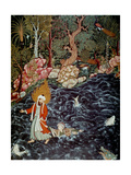 The Prophet Elijah Rescuing Prince Nur Ad-Dahr (From the Hamzanam), 1562-1577 Giclee Print by Mir Sayyid Ali