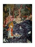 The Prophet Elijah Rescuing Prince Nur Ad-Dahr (From the Hamzanam), 1562-1577 Lámina giclée por Mir Sayyid Ali