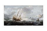 Ships in a Storm on a Rocky Coast, 1614-1618 Giclée-Druck von Jan Porcellis