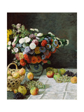 Still Life with Flowers and Fruit, 1869 Giclée-Druck von Claude Monet