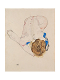 Nude with Blue Stockings, Bending Forward, 1912 ジクレープリント : エゴン・シーレ
