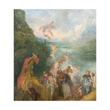 Pilgrimage to Cythera (Embarkation for Cyther) Detal: Putti, 1717 Giclée-tryk af Jean Antoine Watteau