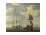 An English Vessel and Dutch Ships Becalmed, C. 1660 Giclée-Druck von Willem Van De Velde The Younger