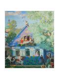 Small Blue House, 1920 Giclée-Druck von Boris Michaylovich Kustodiev