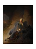 Jeremiah Lamenting the Destruction of Jerusalem, 1630 Giclée-tryk af  Rembrandt van Rijn