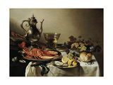 Table with Lobster, Silver Jug, Big Berkemeyer, Fruit Bowl, Violin and Books, 1641 Lámina giclée por Pieter Claesz
