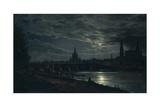 View of Dresden by Moonlight, 1839 Giclée-tryk af Johan Christian Clausen Dahl