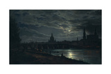 View of Dresden by Moonlight, 1839 Giclee Print by Johan Christian Clausen Dahl