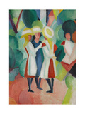 Three Girls in Yellow Straw Hats I, 1913 Giclee Print by August Macke