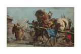 The Building of the Trojan Horse, Ca 1760 Giclée-tryk af Giandomenico Tiepolo