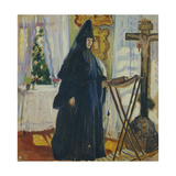 At the Monastic Cell. Prayer, 1915 Giclée-tryk af Olga Ludvigovna Della-Vos-Kardovskaya
