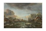 A Frozen River by a Town at Evening, Ca 1665 Giclee Print by Aert van der Neer