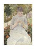 Young Woman Sewing in the Garden, 1880-1882 Reproduction procédé giclée par Mary Cassatt