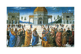 Delivery of the Keys to Saint Peter, 1481 Lámina giclée por  Perugino