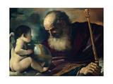 God the Father and Angel, 1620 Lámina giclée por  Guercino