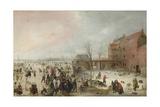 A Scene on the Ice Near a Town, C. 1615 Giclée-tryk af Hendrick Avercamp