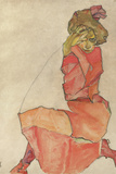 Kneeling Female in Orange-Red Dress, 1910 Reproduction procédé giclée par Egon Schiele