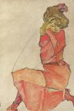 Kneeling Female in Orange-Red Dress, 1910 ジクレープリント : エゴン・シーレ