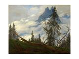 Mountain Peak with Drifting Clouds Giclee Print by Caspar David Friedrich