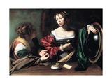 Martha and Mary Magdalene, C. 1598 Giclée-tryk af  Caravaggio