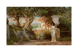 Water Carrier in an Antique Landscape with Olive Trees Giclée-tryk af Henryk Siemiradzki