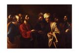 The Tribute Money, C. 1615 Giclée-tryk af Bartolomeo Manfredi