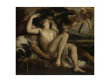 Mars, Venus and Cupid, Ca 1530 Giclée-tryk af  Titian (Tiziano Vecelli)