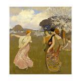 Spring Dance, C. 1917 Giclée-tryk af Arthur Frank Mathews
