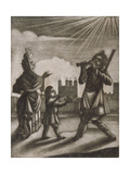 Man Piping and a Woman and Child Dancing Near the Walls of the Tower of London, C1770 Giclee Print by Sutton Nicholls