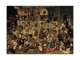 The Combat Between Carnival and Lent, C. 1560 Giclée-vedos tekijänä Pieter Brueghel the Younger