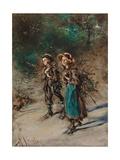 Children with Brushwood Giclee Print by Anton Romako
