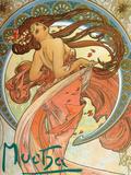 Dance (From the Series the Art), 1898 Giclée-Druck von Alphonse Mucha