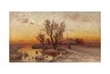 Sunset over a Ukrainian Hamlet, 1915 Giclee Print by Juli Julievich Klever