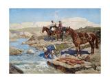 Cherkessian Horseman Crossing the River Giclee Print by Franz Roubaud