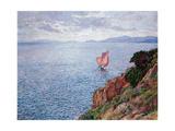 The Red Sail Gicléetryck av Théo van Rysselberghe