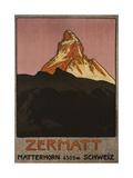 Zermatt, 1908 Gicléetryck av Emil Cardinaux