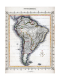 Mapa de Sudamérica Lámina giclée