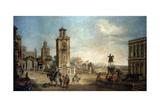 View of a Town, 18th Century Giclée-tryk af Francesco Battaglioli