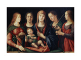 Madonna and Child with Mary Magdalen, Saint Catherine and Two Saints, 1504 Giclée-tryk af Alvise Vivarini