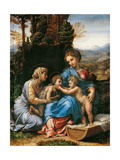 The Holy Family with John the Baptist as a Boy and Saint Elizabeth (La Petite Sainte Famill) Giclée-tryk af Romano, Giulio