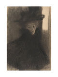Portrait of a Lady with Cape and Hat, 1897-1898 Giclée-Druck von Gustav Klimt