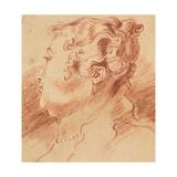 Study of Woman's Head, C. 1725 Giclée-tryk af Jean Antoine Watteau