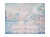 L'Hirondelle Steamship (Seine Near Samoi) Giclee Print by Paul Signac